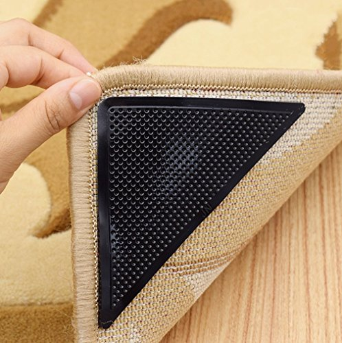 naoao Teppich Greifer Bereich Teppich Teppich Gummi Anti-Rutsch Pad mit Stark Sticky 8Teppich Klebeband Doppelseitiges Klebeband für Bereich Teppiche und Böden -