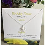 - 51EiuCftEUL - Birthday Flower Sterling Silver Necklace/ Pendant Jewellery–MARCH—-Daffodil Design Presented By Sterling Effectz