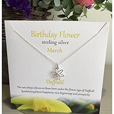 March Birthday Flower Sterling Silver Necklace/Pendant Jewellery in Daffodil Design Presented by Sterling Effectz