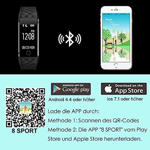 AsiaLONG Fitness Tracker mit Pulsmesser, Schrittzähler Uhr Fitness Armband Wasserdicht Aktivitätstracker mit Schlafmonitor, herzfrequenz, Kalorienzähler, Vibrationsalarm Anruf SMS Whatsapp Beachten mit IOS Android Smartphones (Upgrade Version) - 8
