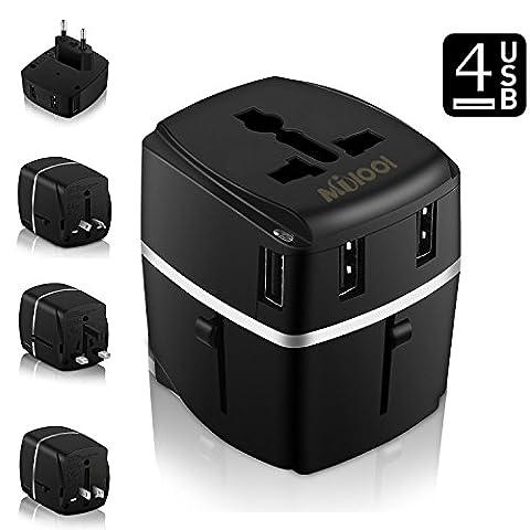 Adaptateur Voyage MILOOL® avec 4 USB Adaptateur Chargeur International pour UK / EU / US / AUS Universel Chargeur de Voyage tout-en-un Multi-prise …
