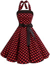 Timormode Women Strapless Vestido sin mangas Retro 1950s Vintage mujer Prom Dresses Vestido mujer Fiesta Lace-Up