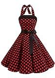 Timormode 10212 Damen Vintage Kleid 1950 Neckholder Cocktailkleid Faltenrock Partykleid L Groß Schwarz Rot