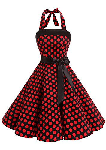 Timormode Sexy Robe Rétro Vintage Femme Année 40 50 60 Robe de Cocktail Rockabilly Décolleté 10212Big Black Red S