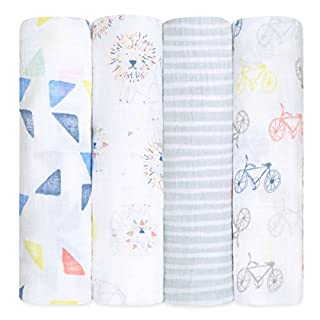 aden + anais swaddle, 100% cotton muslin, 120cm X 120cm, 4 pack, leader of the pack