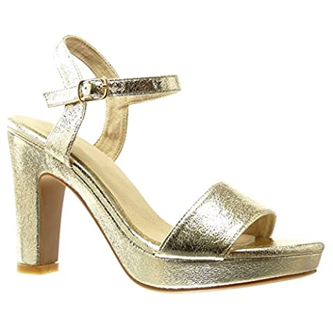 Angkorly - Women's Fashion Shoes Sandals Pump Court shoes - platform - sexy - thong - buckle Block high heel 11 CM - Gold PN1569 T 37 - US