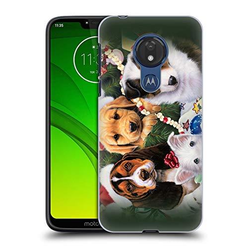 Head Case Designs Offizielle Christmas Mix Jenny Newland Welpe Überraschung Haustiere Ruckseite Hülle für Motorola Moto G7 Power