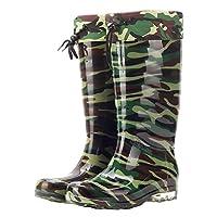 Wealsex Mens Boys Camouflage Wellington Boots Anti Slip Lined Wellies Waterproof Rain Boots Size 5.5-9