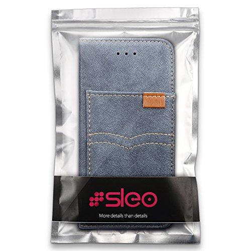 SLEO Coque pour iPhone X, iPhone 10, Etui en Cuir Rétro Ultra Slim Pochette Style Magnétique avec Support Slots de cartes Case Cover Housse Etui Coque de Protection pour iPhone X, iPhone 10 - Noir Bleu Foncé