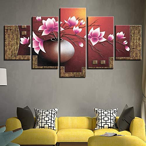 adgkitb canvas Hd Sofa Wanddekoration Malerei 5 Stücke Pflanze Blumen Bunte Gemälde Rahmen Modulare Bilder Leinwand Poster