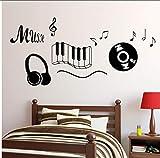 Myvovo Beat Musik Symbol Design Wandaufkleber Für Schlafzimmer Wohnzimmer Wanddekor Vinyl Design Aufkleber Auto Aufkleber Wohnkultur 58 * 124 Cm