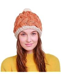 Kanpola Las Mujeres Invierno Sombrero Cálido Tejido Croché Gorros de Punto  de Lana Esquí Beanies Cráneo 4b4f1b7d46e