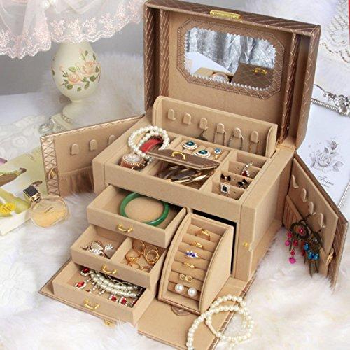 GWDZX Boîte à Bijoux Boîte à Anneaux étui Cosmétique Bois Avec Serrure Princesse Européenne Grande Capacité Cuir,D-26*18.5*19cm