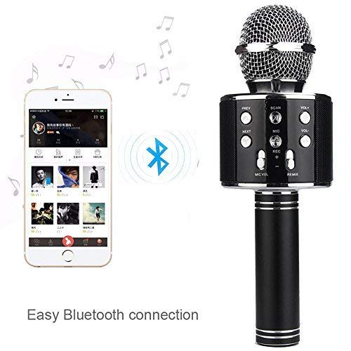 Best Quality Wireless Bluetooth Latest Mic for Singing Recording Condenser Microphone HiFi Speaker with Party Lights_Black WS-858