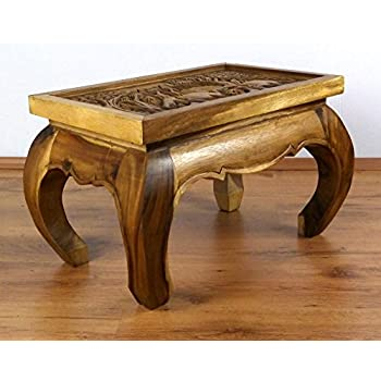 Asian Opium Table, Coffee Table With Elephant Carvings, 58cm X 38cm, Coffee  Table, Handmade In Thailand (Natural Colour)