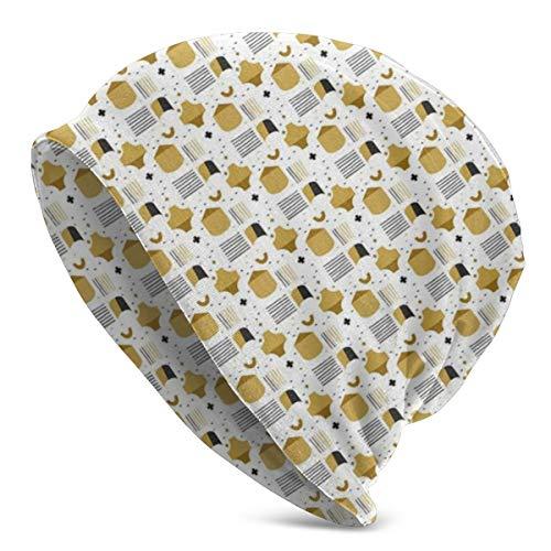 ORANGEW Top Level Beanie Men Women - Convex and Concave Shapes Stripes Pattern - Unisex Cuffed Plain Skull Knit Hat Cap