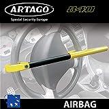 Artago 840A/B Canne Antivol Voiture Volant Airbag Universelle Européenne Facile à Transporter, Noir et Jaune