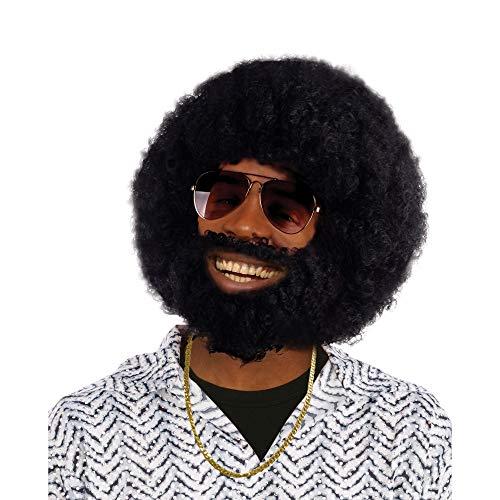 Schmuck Kostüm 1970's - Bristol Novelty bw749Afro Perücke und Bart, eine Größe