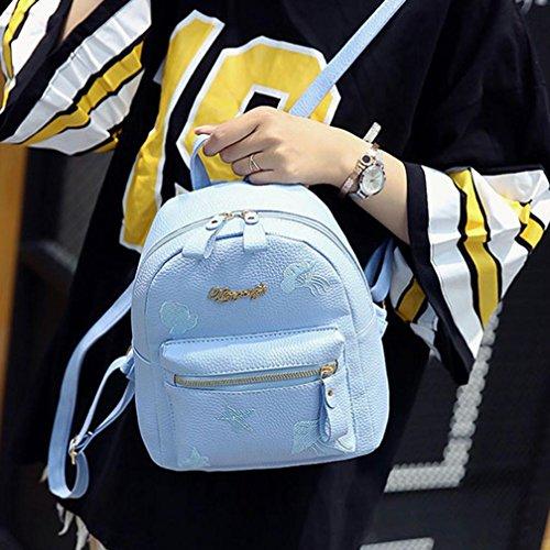 LILICAT Mädchen Rucksack Schultasche PU Leder Casual Teenager Unisex Kinder School Bag Shoulder Book Bags Erwachsene Damen Herren Schulrucksack Freizeit Daypacks Blau