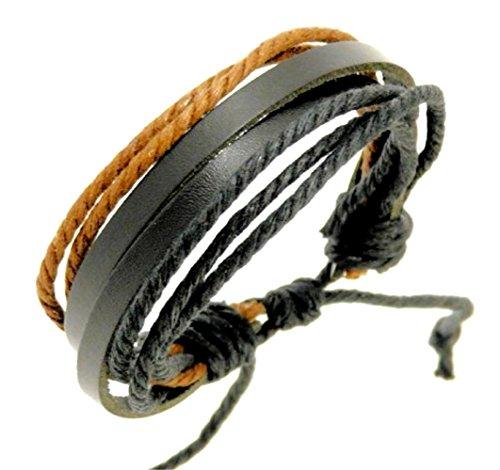 Men's Black Leather Double Strap & Black & Brown Coloured Cords Leather Bracelet / Leather Wristband / Surf Bracelet - 88