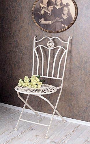 PALAZZO INT Nostalgie Gartenstuhl Shabby Chic Stuhl Weiss Metallstuhl Antik Stil