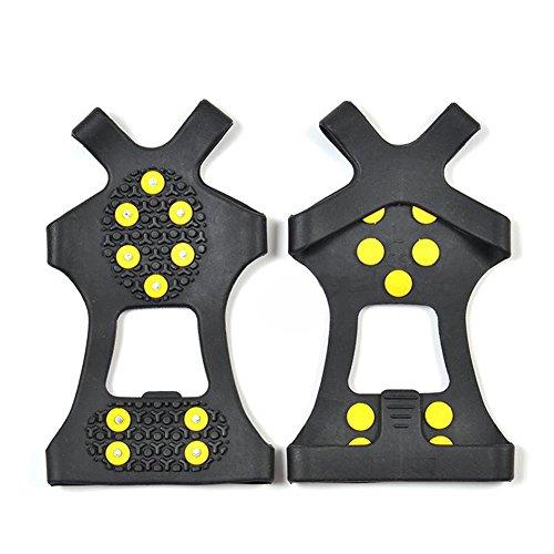 1coppia ( pezzi) nero 10INOX borchie tacchette -- elastico antiscivolo neve trazione ghiaccio tacchette Ice Spikes antiscivolo antiscivolo copriscarpe, L