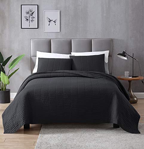 EXQ Home Bettdecken-Set, leicht, hypoallergen, Mikrofaser, modernes Design Twin schwarz - Sets Twin-bettdecken