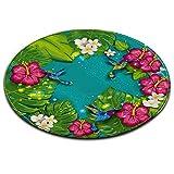LB Grünpflanze Monstera Vogel Blume Badematte Runde Bereich Teppich Wohnzimmer Schlafzimmer Badezimmer Küche weichen Teppich Bodenmatte Home Decor,60x60 cm