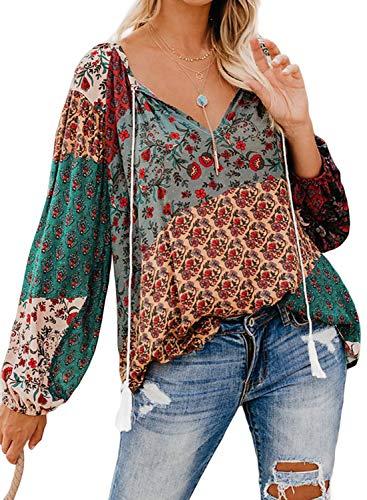 Elapsy Blusa Bohemia con borlas y Cuello en V para Mujer A-Green XX-Large(48-50)