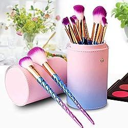 Brochas de Maquillaje, Set de 12 Pinceles de Maquillaje Profesional, Juegos de Maquillaje Make Up Brochas Cosméticos, Cepillos de Maquillaje para Facial y Cejas y Labios (Rosa)