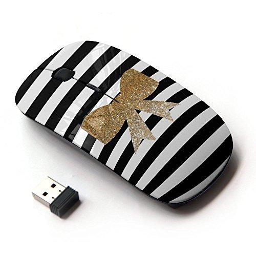 ART-GEAR Mouse Senza Fili Ottico 2.4G / Black White Golden Bow Feminine