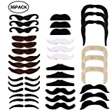 EXTSUD 36pcs Moustache Déguisement Autocollant Fausses Moustaches Auto-adhésives pour Soirées Costumées, Fête de Noël, Halloween et Anniversaires Parties