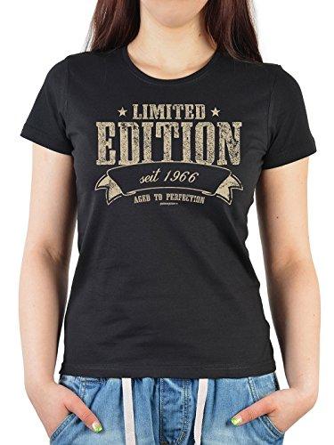 Geburtstag Girlie Shirt ::: Limited Edition seit 1966 ::: witziges Geburtstagshemd Schwarz