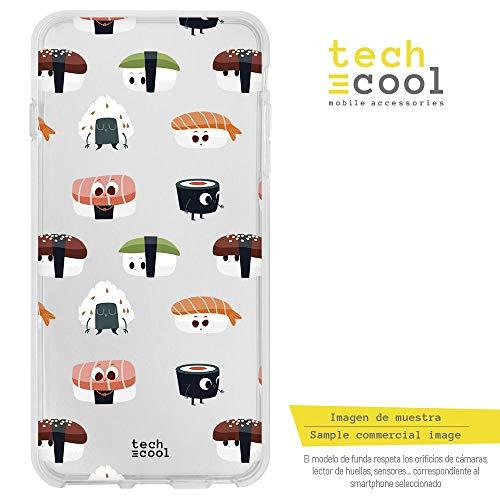 Funnytech® Funda Silicona para Xiaomi Redmi 6 Pro/Xiaomi Mi A2 Lite [Gel Silicona Flexible, Diseño Exclusivo] Patron Sushi Divertido Fondo Transparente