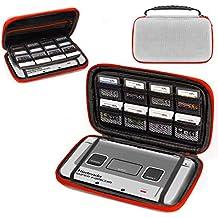 Funda 3DSXL de Orzly, para Nintendo 3DS XL (Original) o NEW 3DS XL (Nueva) - Funda dura de viaje para llevar la Consola con ranuras para juegos y bolsillo con cremallera – Color de SNES Edition
