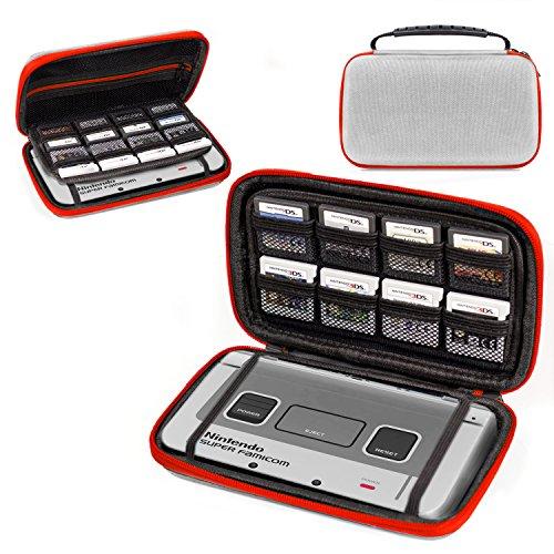 3DSXL Case, Orzly Aufbewahrungstasche für 3DS XL oder NEW 3DS XL - Hartschalen Schutzhülle für das Original Modell 3DS XL oder das Nue Nintendo 3DS XL Konsole & Accesoires - SNES EDITION FARBE