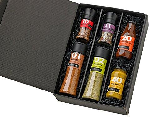 51Ej PlipgL - Grill-Zubehör / Gewürze-Set zum Grillen für Männer / Geschenk mit Gewürz-Mischungen, Honig-Senf und einer rauchige Grill-Sauce in einem Set