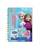Set carnet 4 pieces Frozen la reine des neiges de Disney : Anna et Elsa dans un carnet avec crayons et feutre