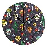 Use7 Wanduhr, Retro-Stil, mexikanischer Totenkopf, Kaktusblüte, Acryl, Nicht tickend, geräuschlose Uhr, Kunst für Wohnzimmer, Küche, Schlafzimmer