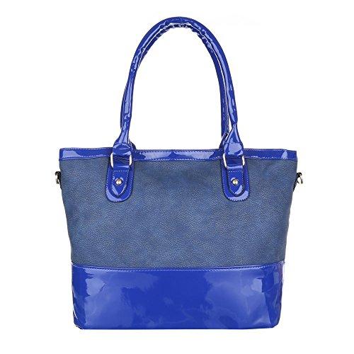 iTal-dEsiGn Damentasche Mittelgroße Schultertasche Handtasche Kunstleder TA-F1017 Blau