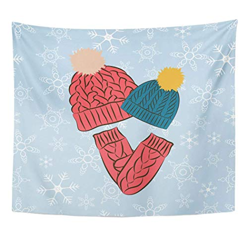 gthytjhv Tapisserie Decor Collection, Tapestry Wall Hanging Art Nature Home Knit Winter Knitted Colored Hats and Mittens Blue Snowflakes Cap for Living Room Bedroom Dorm Decor in 50 x 60 Inches -