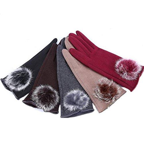 MIJIU Femme Gants Ecran Tactile Hiver Elastique Polaire Chaud 100% lapin boule de fourrure décoration pour Sports de Plein Air Wine Rouge