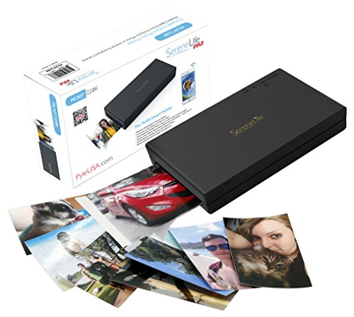 Serenelife Portable Instant Photo Printer - Wireless Digital Picture Printing for iPhone Or Android Smartphone Camera Pickit22Bk