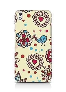 Amez designer printed 3d premium high quality back case cover for HTC Desire 816 (Texture birds hearts balls surface)