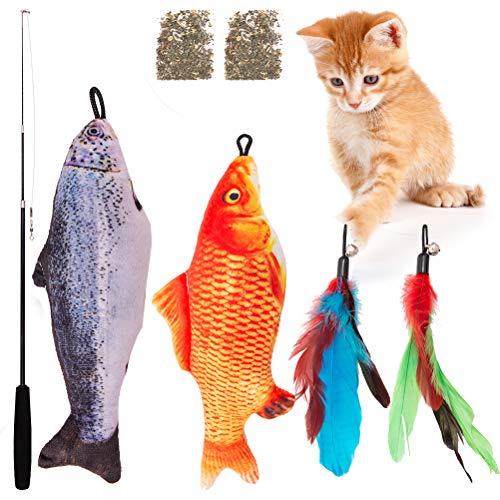 SCIROKKO Interaktives Katzenspielzeug, 7-teiliges Set mit Fisch, Federn, Teaser Wand, Katzenminze