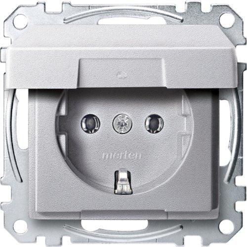 Merten MEG2311-0460 SCHUKO-Steckdose mit Klappdeckel, Steckklemmen, aluminium, System M -