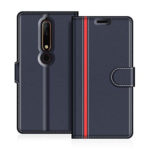 COODIO Nokia 6 2018 Hülle Leder, Nokia 6.1 Lederhülle Ledertasche Wallet Handyhülle Tasche Schutzhülle mit Magnetverschluss/Kartenfächer für Nokia 6.1 / Nokia 6 2018, Dunkel Blau/Rot
