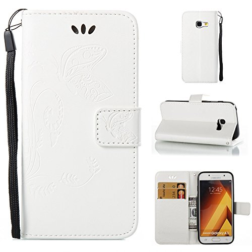 EKINHUI Case Cover Solid Color Faux Leder Bookstyle Brieftasche Stand Case mit geprägten Flower & Lanyard & Card Slots für Samsung Galaxy A3 2017 ( Color : Brown ) White