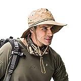 Shentukeji, Cappello da Sole UPF 50, a Tesa Larga, Protezione UV, Pieghevole, Estivo, Impermeabile, da Spiaggia, Pesca, Escursionismo Cachi Taglia Unica