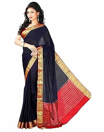 Roopkala Silks & Sarees Women's Chiffon Saree with Blouse Piece(Ds-232_Navy Blue_Free Size)